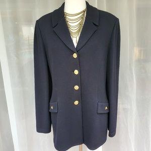 St. John Basics black split collar blazer 12 EUC